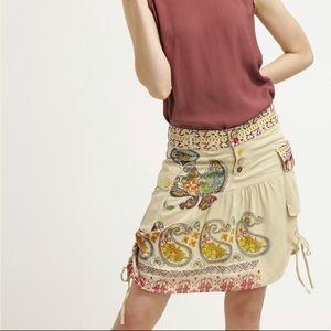Desigual Tan Embroidered PRAGA Skirt